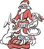 Дед Мороз и Снегоручка с подарком для зайца