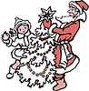 Дед Мороз и снегурочка наряжают новогднюю ёлку