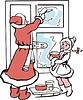 Weihnachtsmann und ein Mädchen ziehen an einem Fenster