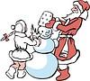 Дед Мороз и Снегурочка лепят снеговика