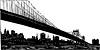 New York skyline view under the bridge