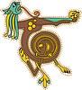 keltischer Buchstabe T von Löwen gebildet