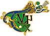 keltische Buchstaben TVN mit Vogel