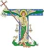 ornamentaler Buchstabe T mit Erzengel Michael