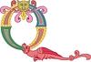 Großbuchstabe Q mit Drachen