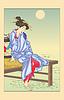 Frau sitzt auf einem Pier (von Yoshitoshi)