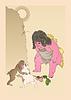 Kintoki sieht einen Kampf von Hasen und Affen (von Yoshitoshi)