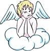 Vektor Cliparts: Engelchen auf Wolke
