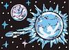 blauer Stern und Planet