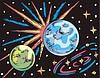 Weltraum Landschaft mit zwei Planeten
