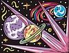 Weltraum Landschaft mit drei Planeten