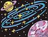 Weltraum Landschaft mit Saturn-ähnlichem Planet