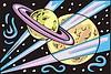 Saturn-ähnlicher Planet und einer andere Planet