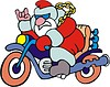 Santa Claus drives motorcycle