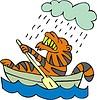 Tiger im Boot