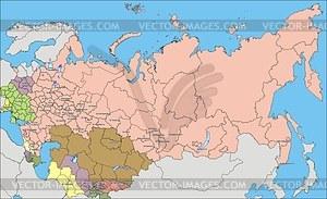 Karte von Russland und GUS (1990s) - Vektorgrafik