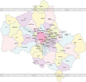 Karte von Moskau Oblast - vektorisiertes Clip-Art