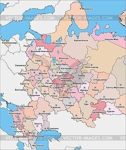 Karte von Russland (Europa-Teil, 1990s) - Vektorgrafik
