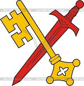 Schlüssel und Schwert - Vektorgrafik