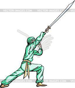 Ninja (Shinobi) - farbige Vektorgrafik