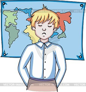 Schüler und geografische Karte - Vektorgrafik