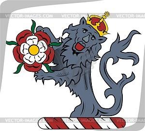 Helmkleinod Löwe mit Blume - Vektorgrafik
