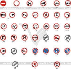 Regulatorische Verkehrszeichen - Vektorgrafik
