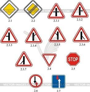 Priorität Verkehrszeichen - Vektorgrafik