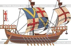Mittelalterliches Frachtschiff - Vektor-Clipart / Vektorgrafik