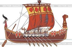 Wikingerschiff - vektorisierte Grafik
