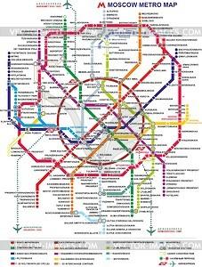 Karte von Moskauer U-Bahn (2015, in Englisch) - Vektorgrafik