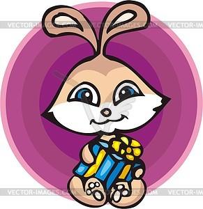 Kaninchen mit Geschenk - Vektorgrafik