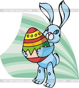 Osterhase hält ein Ei - Vektorgrafik