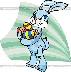 Osterhase hält gefärbte Eier - Vektorgrafik