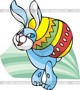 Osterhase trägt großes Ei - Vektorgrafik
