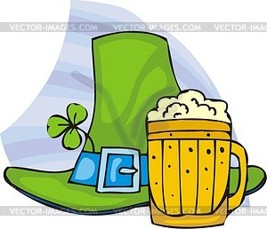 St. Patrick Tag - große grüne Hut und Seidel mit Bier - Vektorgrafik