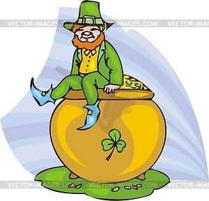 Leprechaun sitzt auf einem großen Topf mit Gold - Vektorgrafik
