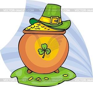 Topf mit Gold und grüner Hut - Vektorgrafik