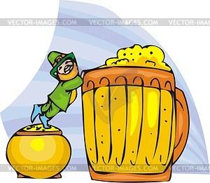 Leprechaun und großes Seidel mit Bier - Vektorgrafik