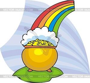 Goldschatz unter dem Regenbogen - Vektorgrafik