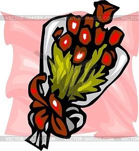 Strauß von roten Blumen - Vektorgrafik