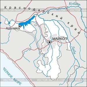 Karte von Adygeja - Vektorgrafik