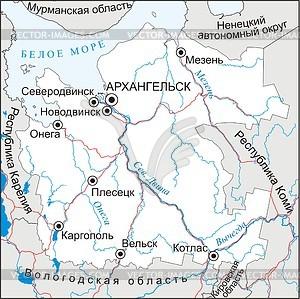 Karte von Archangelsk Oblast - Vektorgrafik