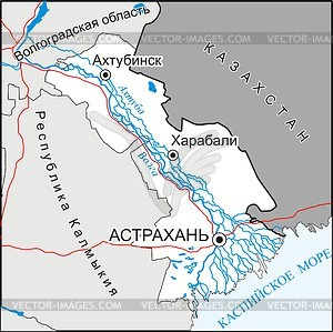 Karte von Oblast Astrachan  - Vektorgrafik