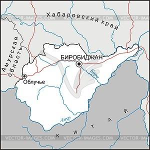 Karte des Jüdisches Oblasts - Vektorgrafik