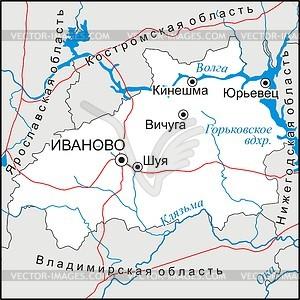 Karte von Ivanovo Oblast - Vektorgrafik
