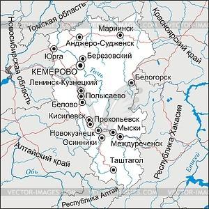 Karte von Kemerowo - Vektorgrafik