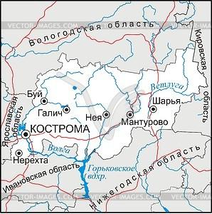 Karte von Kostroma Oblast - Vektorgrafik