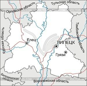 Karte von Lipezk Oblast - Vektorgrafik