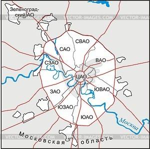 Karte von Moskau - Vector Clip Art
